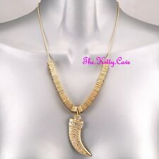 Gold Greek Key Tribal Horn Claw Tusk Fang Safari Necklace w/ Swarovski Crystals