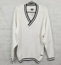 Vtg Prince Classic Tennis Cricket Sweater Mens XL 100% Cotton V-Neck Pullover