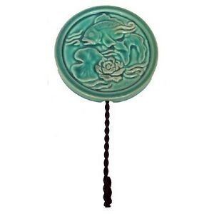 High Relief Majolica Koi Fish & Lotus Blossom Lily Pad Wall Hook Twisted Metal