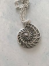 Large Open Spiral AMMONITE SHELL Necklace Tibetan Silver  Little Mermaid 18""