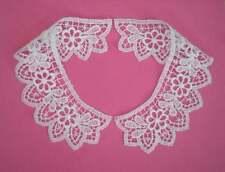 Vintage Style Guipure Lace Collars Matt Cotton White 1 Pair.