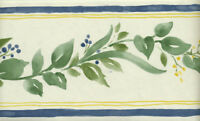 GREEN LEAVES WITH BLUE AND YELLOW BERRIES ON WHITE WALLPAPER BORDER