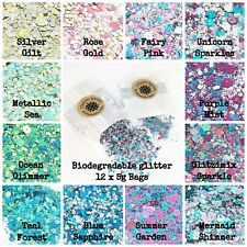 12 x 5g packs -Biodegradable Cosmetic Bio Glitter mix Festival Party Makeup Eco