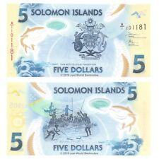 Solomon Islands 5 Dollars 2019 First Prefix 'A/1' P-New Polymer Banknotes UNC