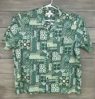 Mens Made In Hawaii Brand Hawaiian Shirt Short Sleeve Sz 2XL Missing Button USA