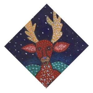 #3498- Spirit Deer Unique diamond shape original painting on wood George Kocar