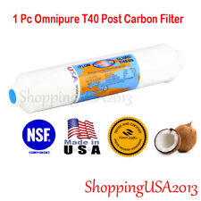 """T40 Inline Carbon Filter Coconut 2""""X10"""" RO Water Filter System Omnipure"""