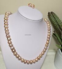Genuine 10-11mm Oblate(bread) freshwater pearls necklace+earring L50cm Purple