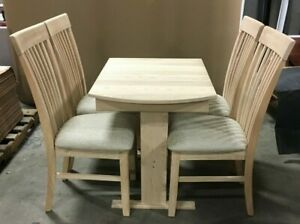RV Hide 2 Leaf Dinette Table 7 Slat Storage Chairs Hardwood RAW Stain Paint