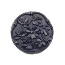 27mm dark navy blue faceted flower vintage Czech glass button