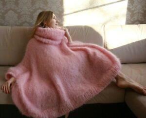 M-XXXL Italian Premium Mohair Sweater Removable neck hand knit Light Pink