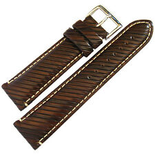 22mm Hadley-Roma MS852 Mens Brown Leather Contrast Stitching Watch Band Strap