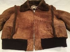 Men's Vintage Schott NYC Sportswear Leather/Suede Jacket with Faux Fur Lining