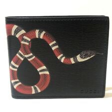 GUCCI 451268 King Snake Print Bill Compartment Bifold Wallet Black x Red