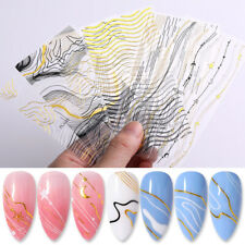 3D Nail Stickers Decals Transfer Line Stripe Gilded Wave Nail Art Decoration