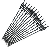 """20"""" Archery Crossbow Carbon Arrows Bolts Target Tips Hunting Shooting 4"""" Vanes"""