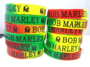 24 pieces Bob Marley RASTA rubber wristbands band bracelets free post