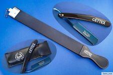 Nassrasur Rasiermesser blau metallic im Etui mit Abziehleder/Doppelleder