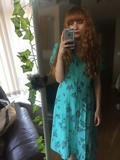 Vintage Retro Blue Long Floral Tea Dress Maxi Size 14 16 18 20 90s Boho