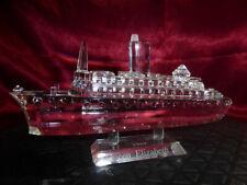 Queen Elizabeth 2 CRYSTAL OCEAN LINER / CUT GLASS SHIP QE2 Cunard Model Ornament