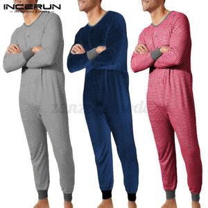 Mens Striped All in One Jumpsuit Playsuit Underwear Bodysuit Jumpsuit Long Johns