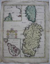 Sardegna Corse Sardinien Malta Korsika kolor Orig Kupferstichkarte Weigel 1720