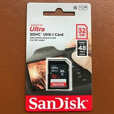 NEW SanDisk 32GB Ultra SDHC SD Card Class 10 UHS-I Memory Card 48MB/S For Camera