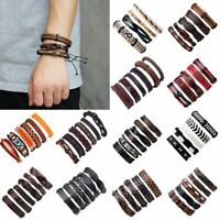 Fashion Mens Punk Leather Wrap Braided Wristband Cuff Punk Bracelet Bangle New