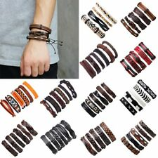 Fashion Mens Punk Leather Wrap Braided Wristband Cuff Punk Bracelet Bangle New