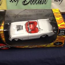 1953 CORVETTE PRO STREET MODIFIED WHITE  HOT WHEELS W/ DISPLAY CASE 1:18 SCALE