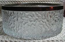"Vintage 8"" Glass Salad Bowl Silver Color Metal Rim Imprinted England Heavy"