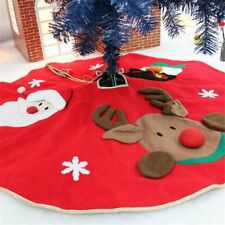 Christmas House Round Tree Skirt Santa Claus Snowman Home Xmas Party Decor