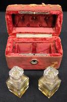 Pair Antique Baccarat France Crystal Perfume Bottles w/Victorian Velvet Box 1860