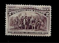 US 1893  Sc# 231 - 2 c Columbian - Mint HR  - Crisp Color - Centered