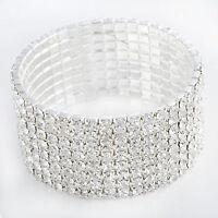 Chunky Stretch Tennis Rhinestone Bracelet Womens Silver 8 Row White Gold Plated