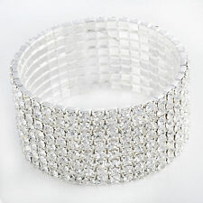 Womens CZ White Gold Filled For Any Party STRETCH Tennis Bracelet 8 Rows