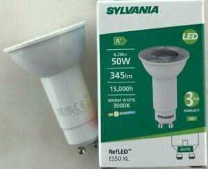 1-24 PACKS OF 74MM GU10 4.2W LED LONG NECK NEW SYLVANIA WARM WHITE 345 LUMENS