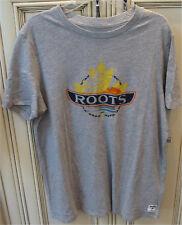 "Women's Large 20"" ROOTS CANADA Explore Canoe T Shirt Grey Mix 100% Cotton"