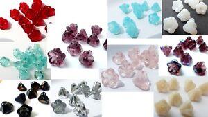 8 (mm) FLOWER TRUMPET BELL CZECH GLASS BEADS - VARIOUS COLOURS -  PACKS OF 30