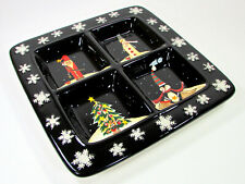 "Certified International MIDNIGHT CHRISTMAS 15"" Divided Sectional Square Platter"