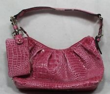 Jessica Simpson light magenta/berry color faux croc tote bag with clutch