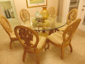 """Lexington 60"""" Round Glass Top Dining Table with 6 Chairs"""