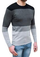 Maglioncino uomo girocollo nero grigio slim fit invernale maglione da XL a 6XL