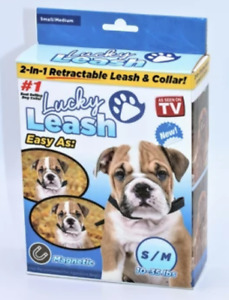 Retractable Dog Leash with Collar 10 to 35 Pound Dogs Authentic Lucky Leash