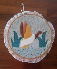 Textile Patchwork Felt Duck and Water Wall Hanging on Cross Stitch Loop w/ Lace