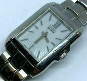 Citizen Eco-Drive E031 Lady Silver Steel Rectangle Solar Power Quartz Watch Hour