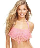Hula Honey Junior Crochet Flounce Bikini Top in Coral/Lilac Sz L $28 OCFO