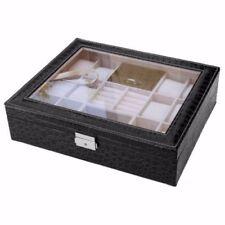 12 Slot Black Croc Leather Watch Box Jewelry Storage Organizer Glass Display