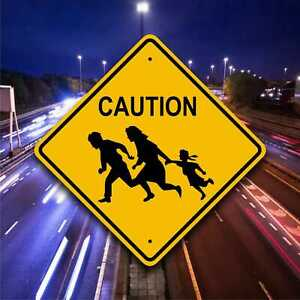 IMMIGRANT CROSSING SIGN - Family Running On Highway Plaque - Fun Safety Marker