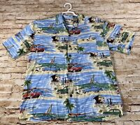 WALT DISNEY WORLD HAWAIIAN Shirt MICKEY DONALD GOOFY Beach Car Rayon Mens Small